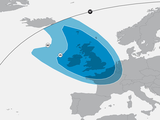 Astra 2E UK Spot Beam Predicted Signal Footprint Map