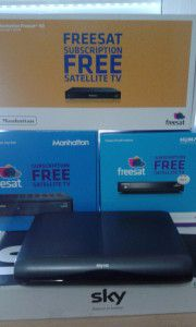 A selection of Freesat and Sky satellite receivers