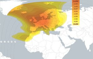 Eurobird 1 Satellite Signal Footprint Map - Fixed Beam