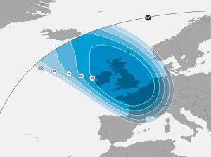 Astra 2D Satellite Signal Footprint Map - UK Spot Beam