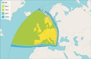 Astra 1N Satellite Signal Footprint Map Pan European Beam 1