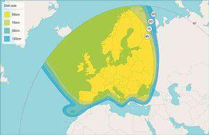 Astra 1N Satellite Signal Footprint Map Pan European Beam 2