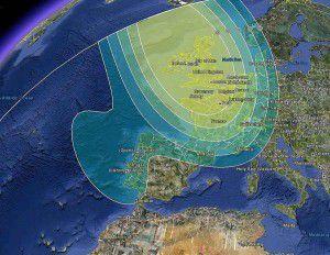 Astra 1N Satellite Signal Footprint Map - UK Spot Beam