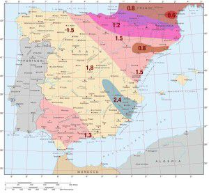 Astra 2D Satellite Signal Footprint Map estimated satellite dish size requirements for Spain