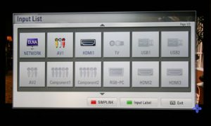 Input selection screen on some LG TVs