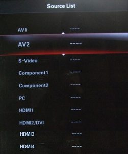 Input selection screen on some Samsung TVs